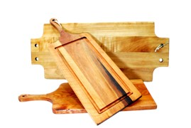 Wooden Platter With Juice Groove and Handle 540 x 210 x 20mm