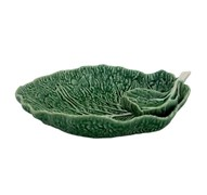 Bordallo Pinheiro Cabbage Leaf Chip and Dip 34cm Natural