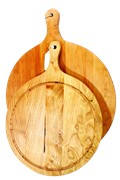 Wooden Platter with Juice Groove and handle 480mm Dia