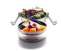 Double-Layer Stainless Steel Tiffin Lunchbox 16cm x 9.5cm