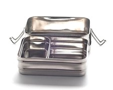 Large Double-Layer Rectangular Stainless Steel Lunchbox 18 x 13 x 9 cm