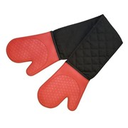Silicone Fabric Double Oven Glove Red