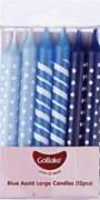 Candles Lge X12 8cm Blue Ombre