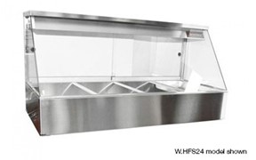 Woodson Hot Food Display 3 Module Rear Sliding Doors with 6 X 1/2 Size 65mm Pans